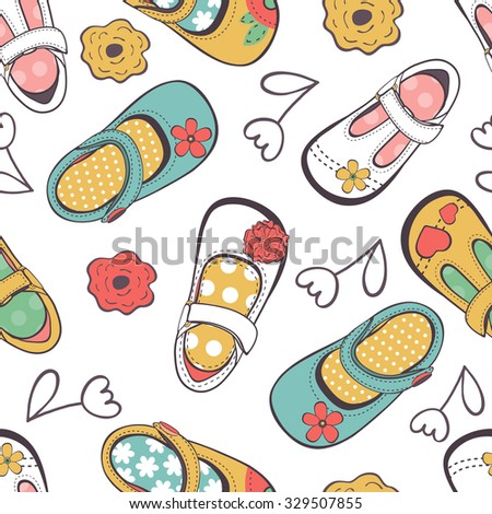 Little girl shoes seamless pattern. Illustration in vector format - stock vector