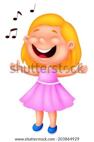 Little girl singing - stock vector