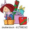 Little girl sits on a huge pile of gifts - stock photo