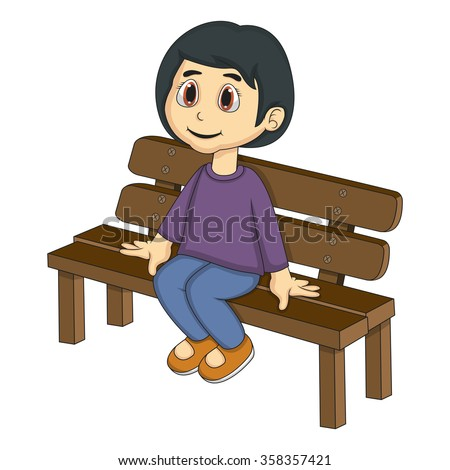 Little girl sitting on a bench cartoon vector illustration