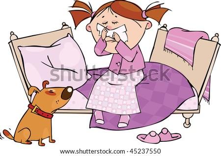 Little girl sneezing in the handkerchief - stock vector