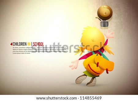 Little girl stretching high to reach and ring the school bell | EPS10 Vector Background | Layers Organized and Named Accordingly - stock vector