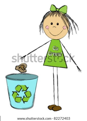 Little girl throwing garbage in the trash - stock vector