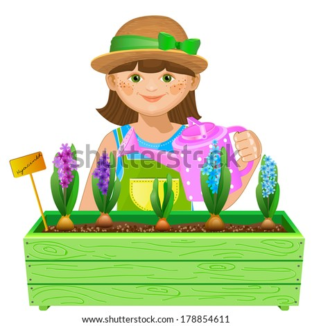 Little girl watering flowers. Pretty gardener watering hyacinths. Isolated on white background. Isolated on white background - stock vector