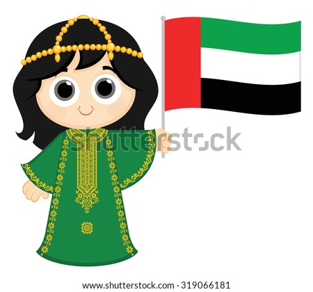 Little Girl Wearing Traditional Dress and Holding United Arab Emirates flag - stock vector