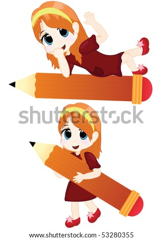 little girl with a big pencil - stock vector