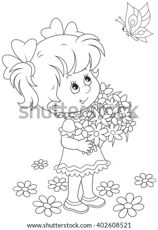 little girl with a bouquet of flowers looking at a flying butterfly