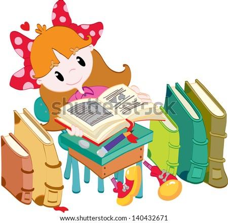 Little girl with books - stock vector