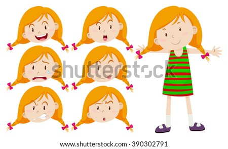 Little girl with different emotions illustration