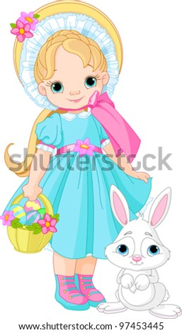Little girl with Easter rabbit - stock vector