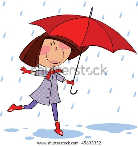 Little girl with red umbrella walking in the rain - stock vector