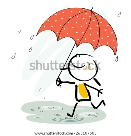 Little girl with umbrella in the rain, smiling. Seasonal vector doodle illustration, sketchy style.  - stock vector