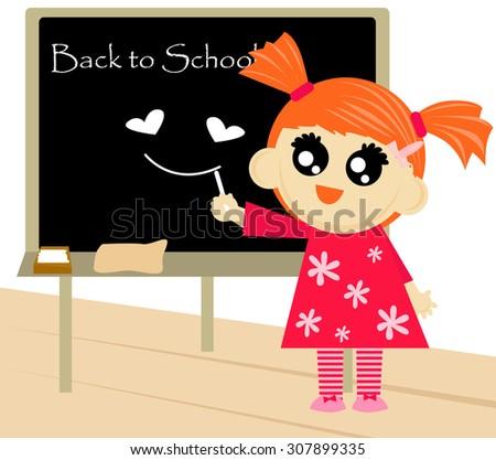 Little girl writing back to school text on blackboard. - stock vector