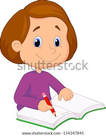 Little girl writing on a book - stock vector