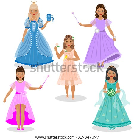 Little girls as cute fairies and princesses in colored dresses isolated on white background.  - stock vector