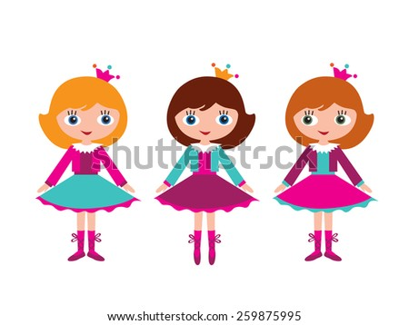 Little girls ballerinas. Lesson at the ballet school. Isolated on white background. Vector illustration. - stock vector