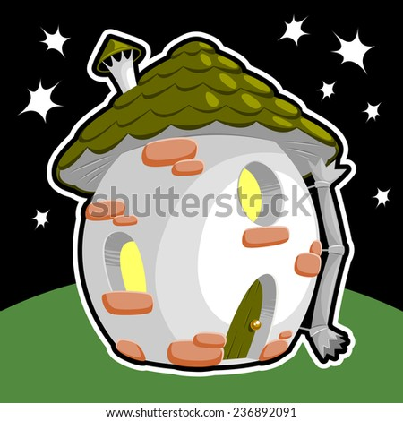 little gnome house on starry sky background - stock vector