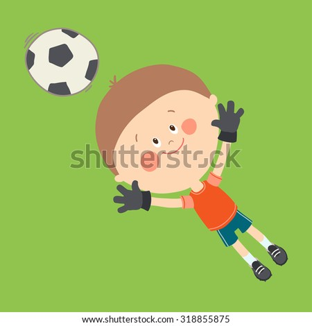 Little goalkeeper catching a soccer ball. Cute boy playing soccer on the football field. Happy kid playing with a ball. Cartoon vector eps 10 illustration on white background.