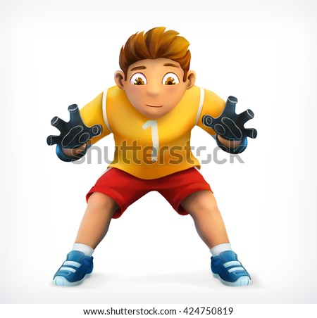 Little goalkeeper, vector icon - stock vector