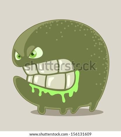 Little green angry monster - stock vector