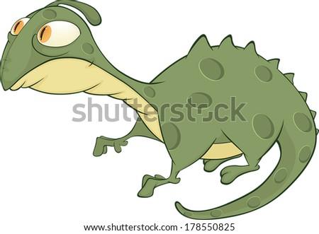 Little green lizard cartoon - stock vector