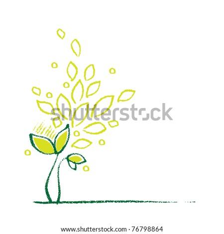 Little green plant, decorative symbol - stock vector