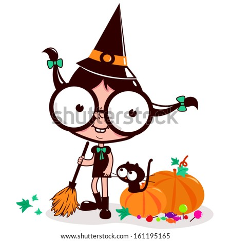 Little Halloween witch sweeping pumpkin leaves. Vector Illustration of a witch and her cat sweeping pumpkin leaves with her broom on Halloween night. - stock vector