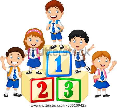 Little happy children with number block