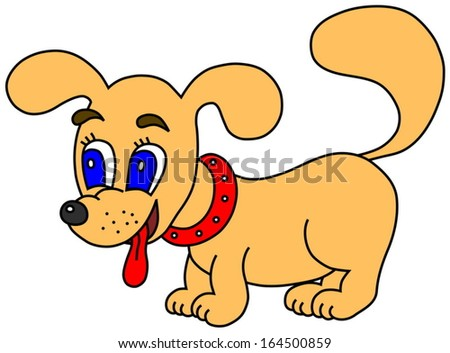 Little happy dog with tongue out (vector version; available as raster too) - stock vector