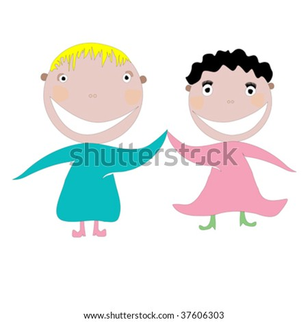 little happy kids vector art illustration, more drawings in my gallery - stock vector