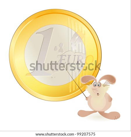 Little hare pointing at big Euro symbol - stock vector