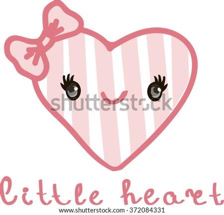 little heart. Vector illustration. Children's card or print on fabric. - stock vector