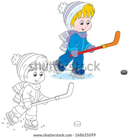 Little hockey player - stock vector