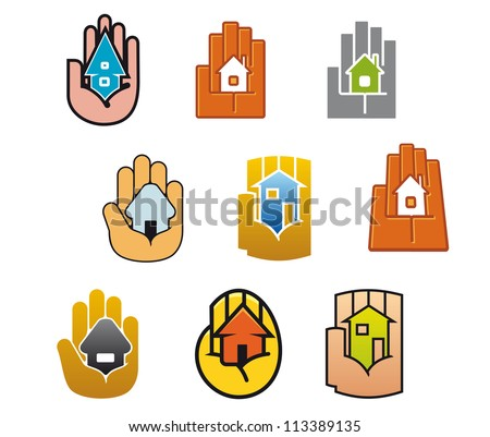 Little house in hands for real estate business design, such a logo template. Jpeg version also available in gallery - stock vector