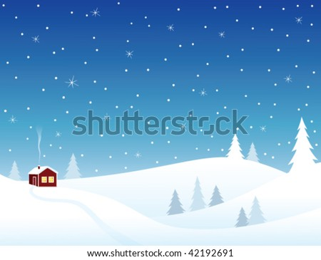 Little house in snowy hills, cozy winter scene. - stock vector