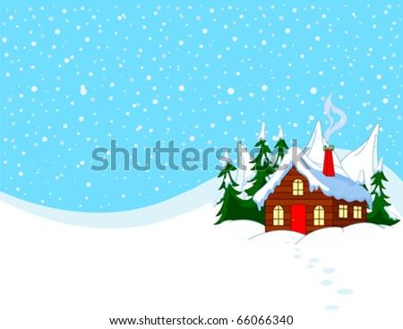 Little house in snowy hills. Pastoral  winter scene. - stock vector