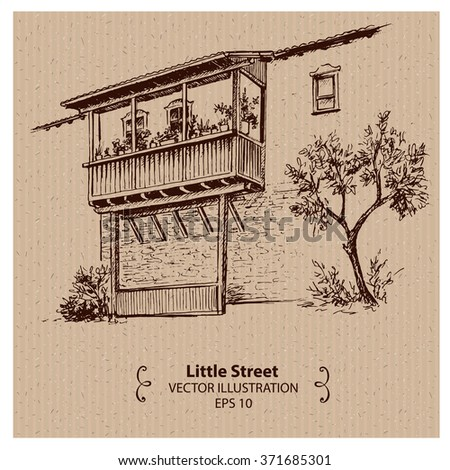 Little house with balcony, hand drawn illustration - stock vector