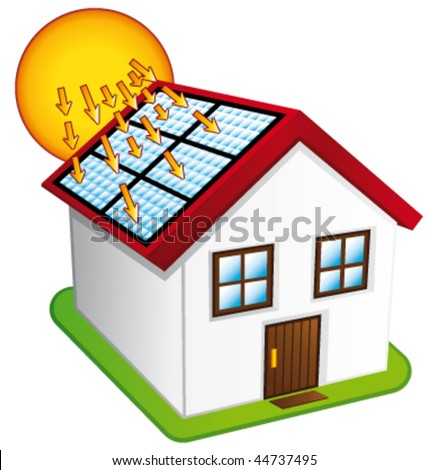 Little house with solar panels. Vector illustration. - stock vector