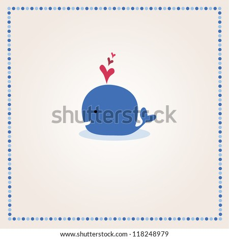 Little illustrated whale with hearts card design - stock vector