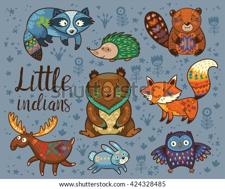 Little indians. Woodland tribal animals vector set