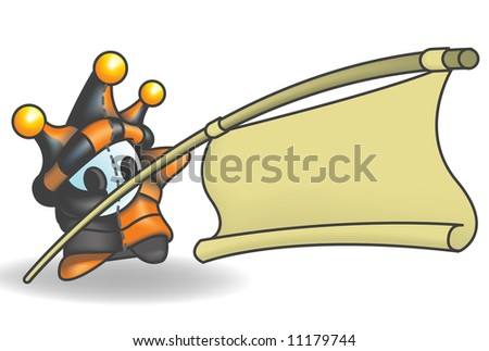 Little Jester or Joker Character holding a sign suspended from a pole. Sign is left empty for your design. - stock vector