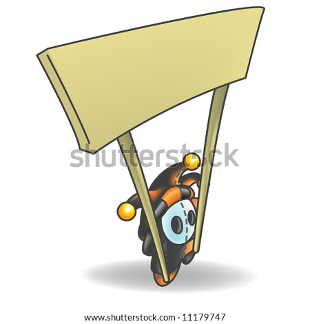 Little Jester or Joker Character Holding a Sign that is left empty for your design. - stock vector