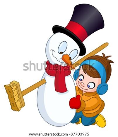 Little kid making a snowman - stock vector