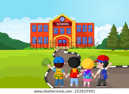 Little kids are going to school - stock vector