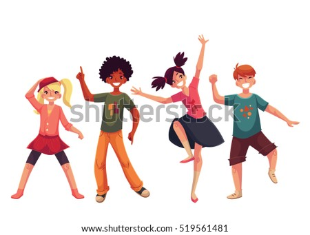 Little Kids Dancing Expressively Cartoon Style Vector Illustration Isolated On White Background Children