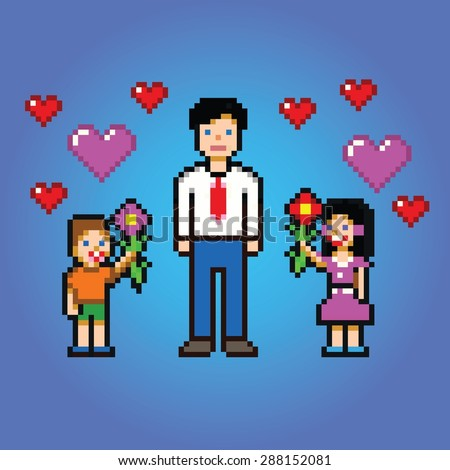 little kids gives daddy flowers - pixel art style vector illustration - stock vector