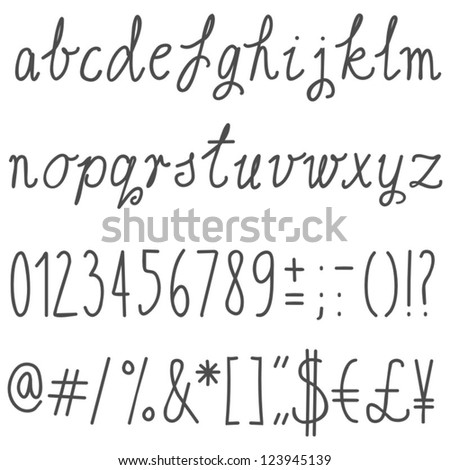 little letters latin alphabet simple hand drawn gray letters and numbers on white background education set - stock vector