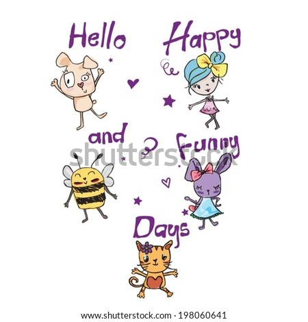 Little lovely animals and happy cute girl - stock vector