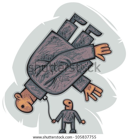 Little man is controlling another big, floating in the air, helpless man attached with the chain like a dog - stock vector