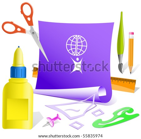 Little man with globe. Vector paper template. - stock vector